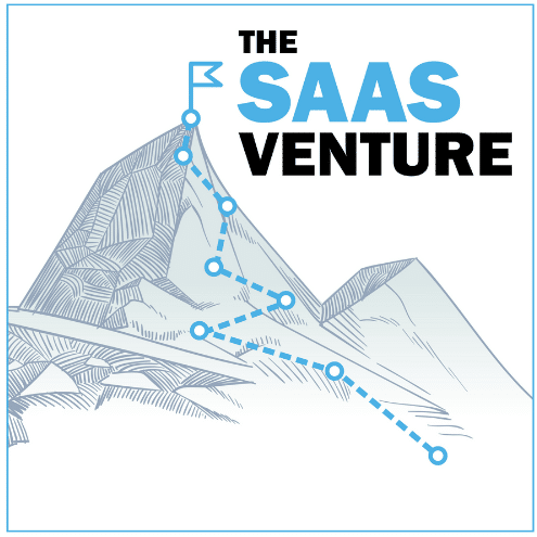 """The animated picture shows a mountain range with a flag on top with the text """"The SAAS Venture"""" on a white background."""