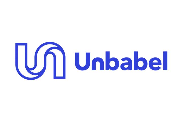 Unbabel Logo, blue text white background